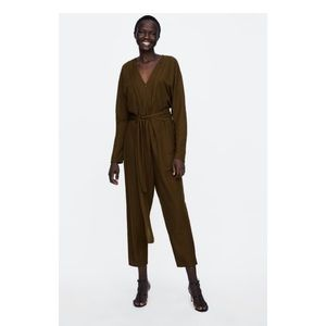 🛍NWT🛍 Zara Dark Olive Jumpsuit w/ Belt